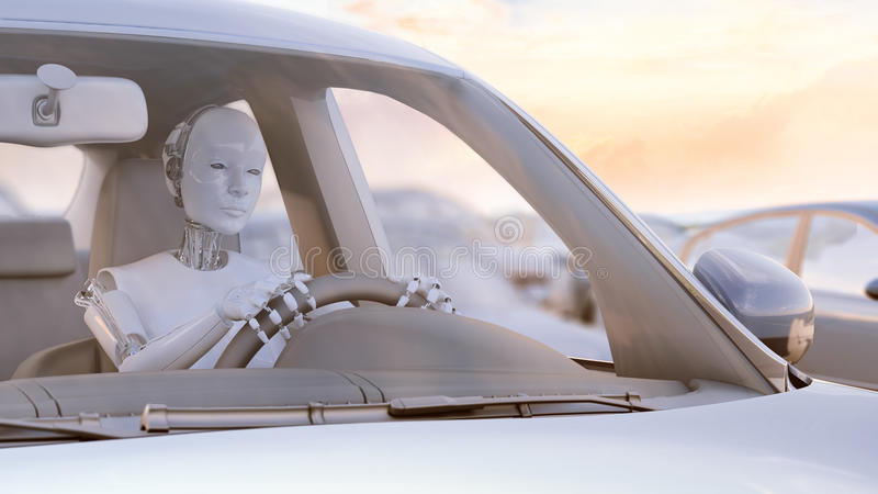 Robot stuck in a traffic jam. Autonomous transport and self-driving cars concept 3D illustration royalty free illustration