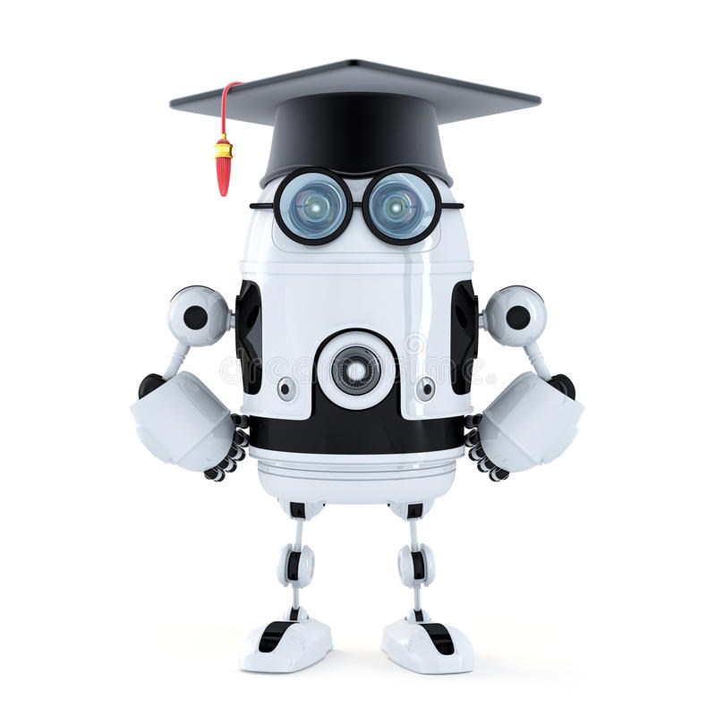 Robot student with mortarboard stock illustration