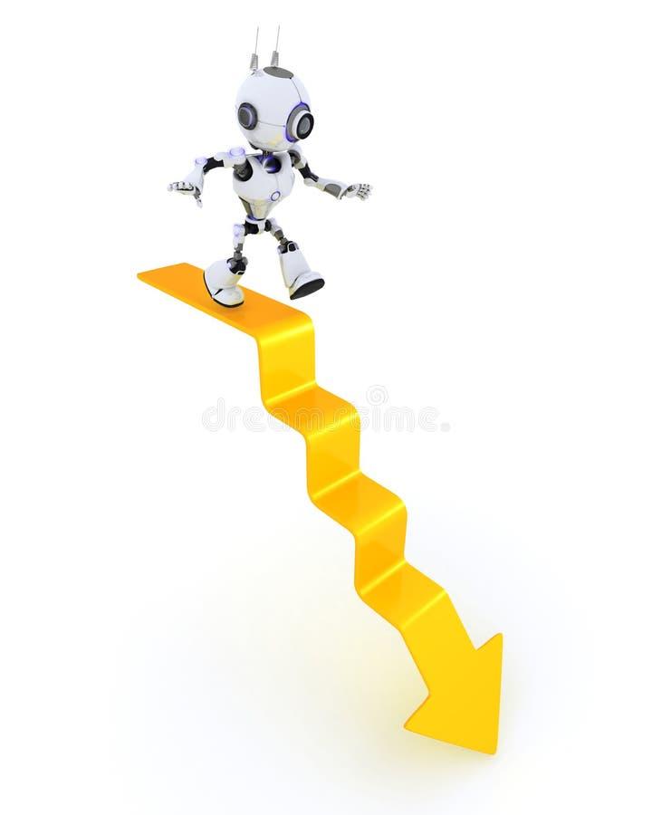 Robot su un grafico illustrazione vettoriale