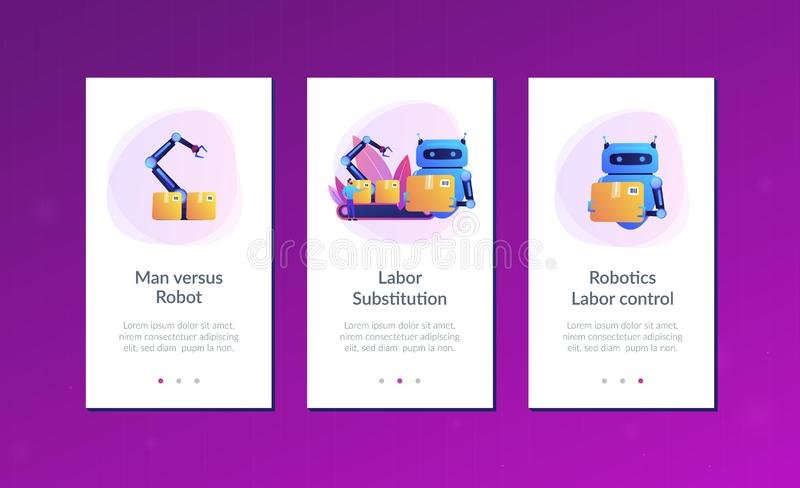Labor substitution app interface template. Robot substituting human working with boxes on conveyor. Labor substitution, man versus robot, robotics labor control stock illustration