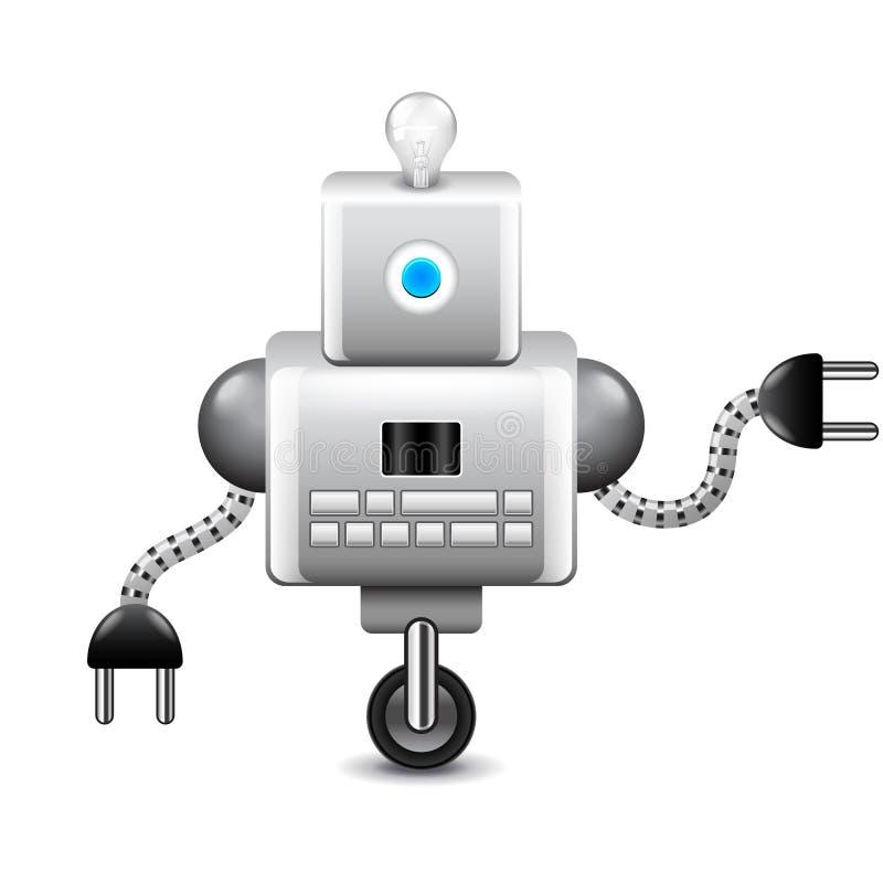 Robot sulla ruota e con la lampadina isolata sul vettore bianco illustrazione di stock