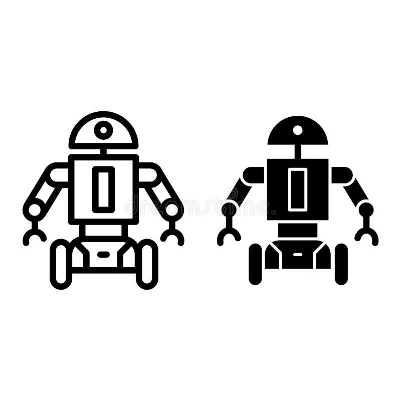 Robot sur la ligne de roues et l'icône de glyph Illustration androïde mobile de vecteur d'isolement sur le blanc Contour de carac illustration stock