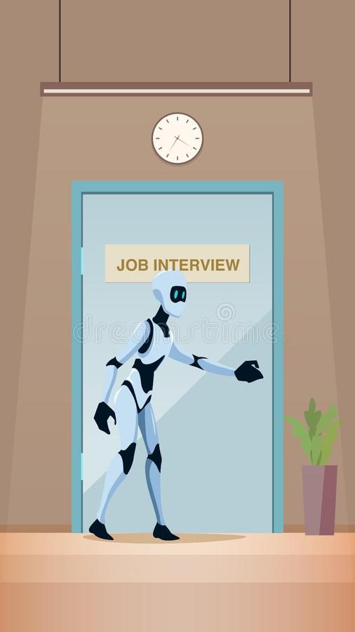 Robot sur la promenade d'entrevue d'emploi dans la porte au bureau illustration stock
