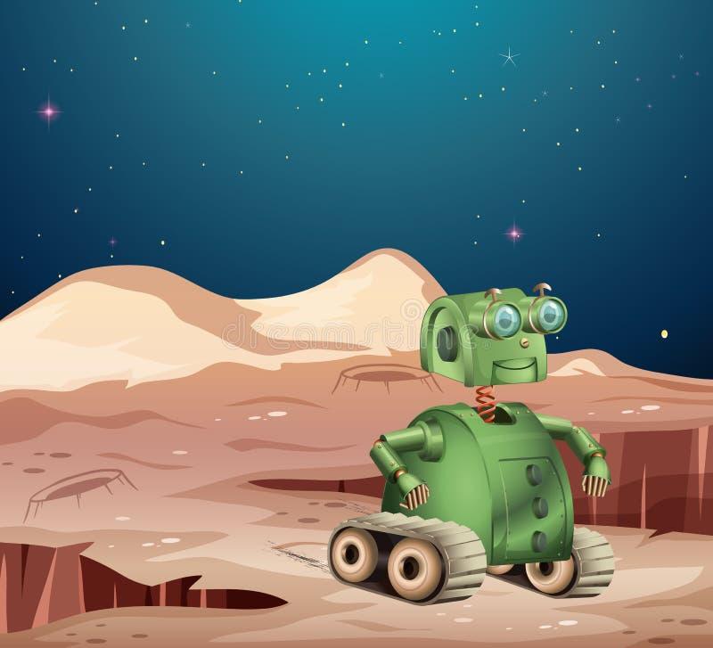 Robot sur la scène de planète illustration de vecteur