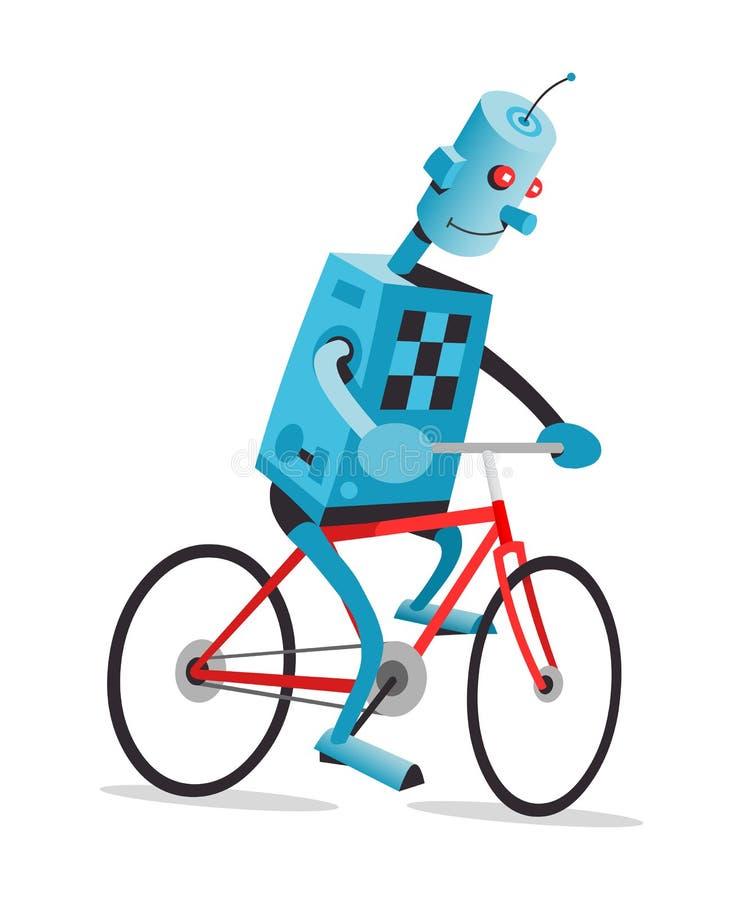 Robot sur un vélo illustration de vecteur