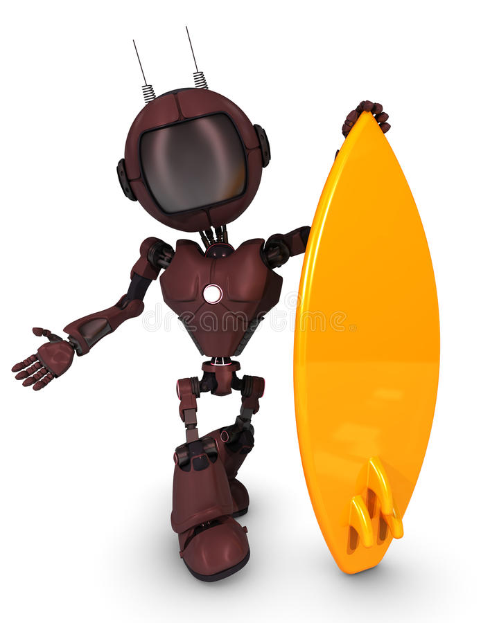 Robot Surfer royalty free illustration