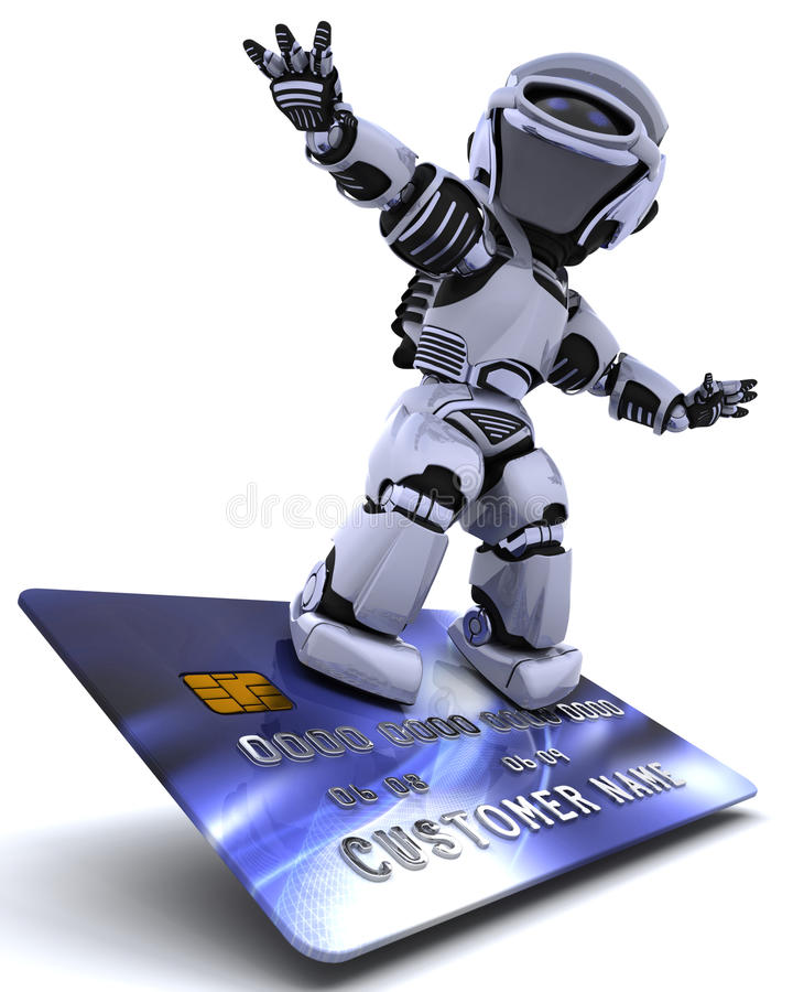 Robot surfing on credit card royalty free illustration