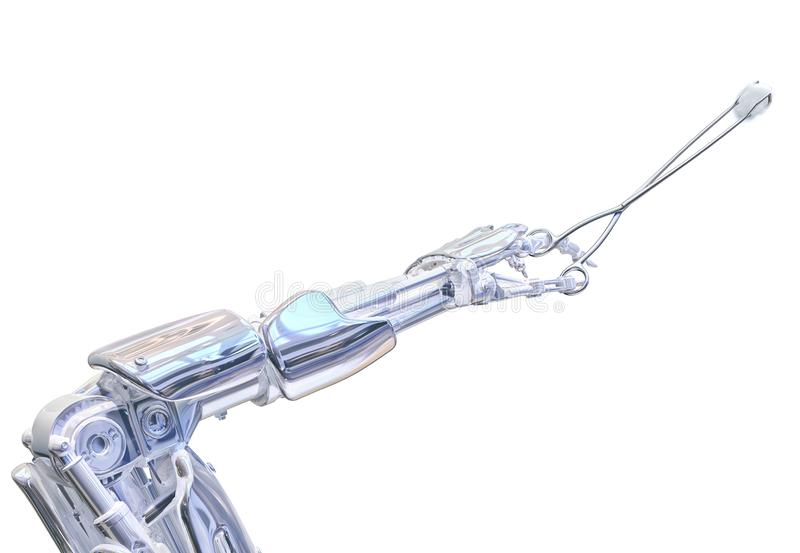 Robot surgeon hand holding forceps. Future robotic surgery concept. 3D illustration. Robot surgeon hand holding forceps with cotton wool. Future robotic surgery vector illustration