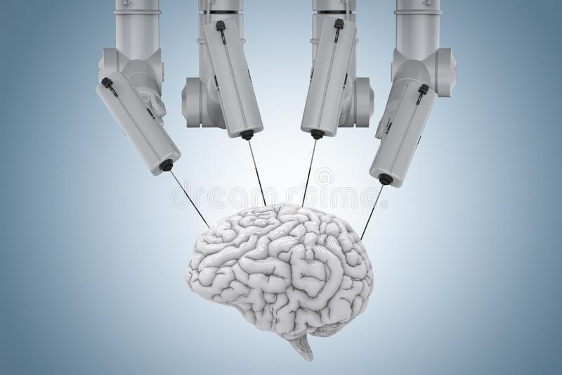 Robot surgery with brain. 3d rendering robot surgery machine with brain on blue background stock photos