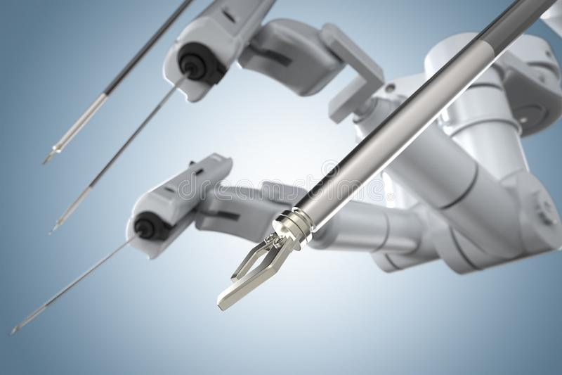 Robot surgery machine. 3d rendering robot surgery machine on blue background vector illustration