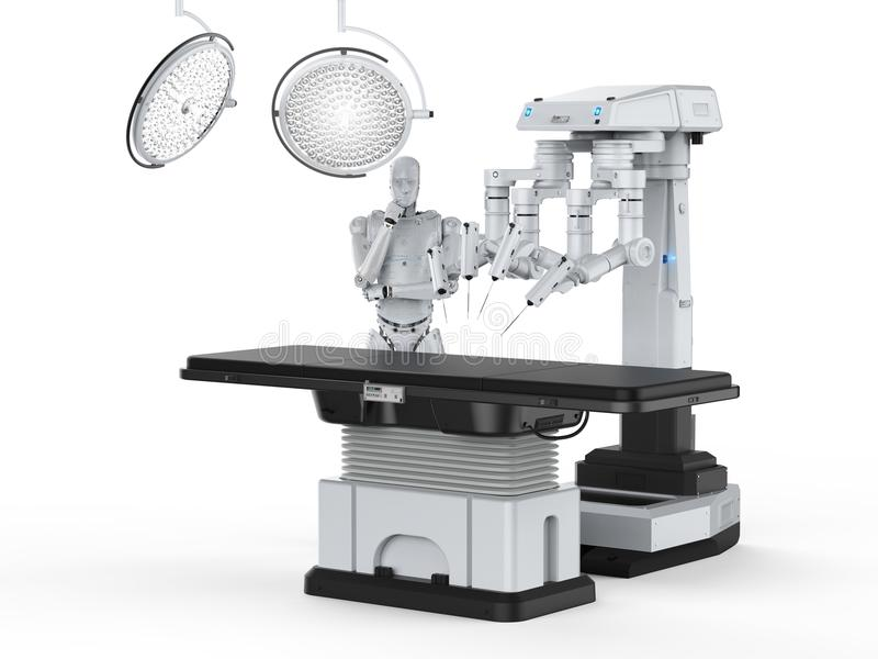 Robot surgery machine. 3d rendering robot surgery machine with cyborg and empty bed royalty free illustration