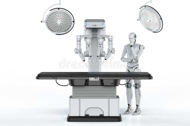 Robot surgery machine. 3d rendering robot surgery machine with cyborg and empty bed vector illustration