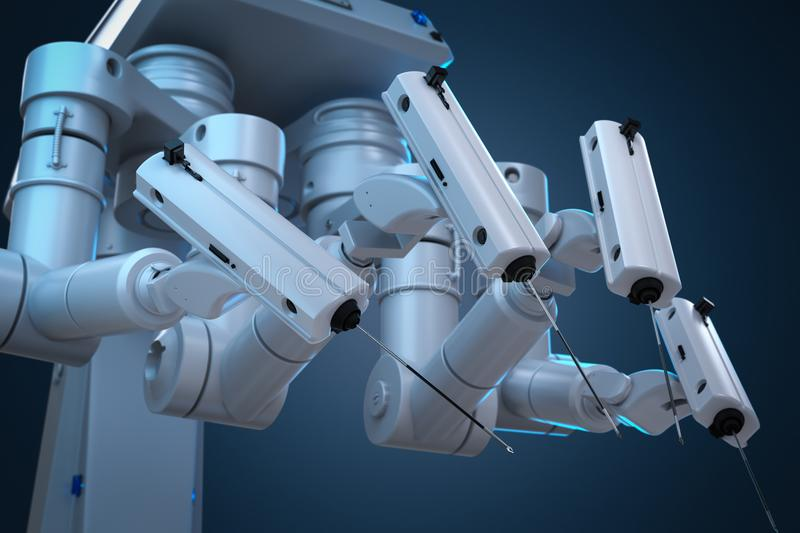 Robot surgery machine. 3d rendering robot surgery machine with four arms royalty free illustration