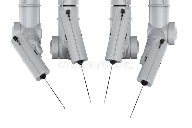 Robot surgery machine. 3d rendering robot surgery machine isolated on white stock illustration