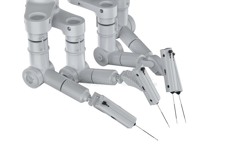Robot surgery machine. 3d rendering robot surgery machine isolated on white royalty free stock image