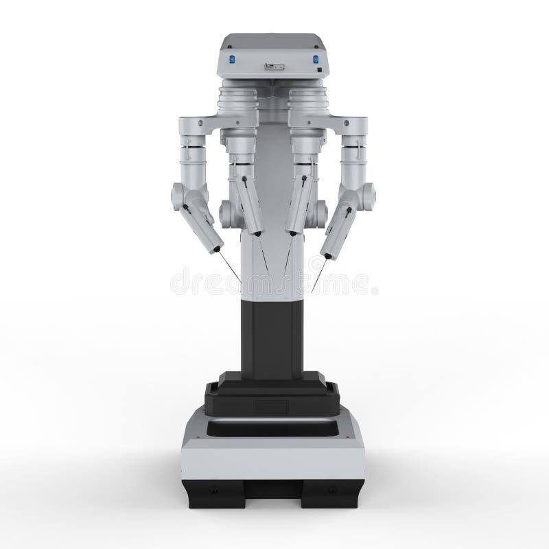 Robot surgery machine. 3d rendering robot surgery machine on white background stock illustration