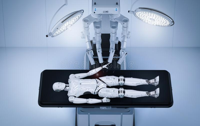 Robot surgery maintenance ai cyborg royalty free illustration