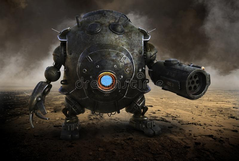 Robot surréaliste de guerre, danger, machine, mal illustration stock