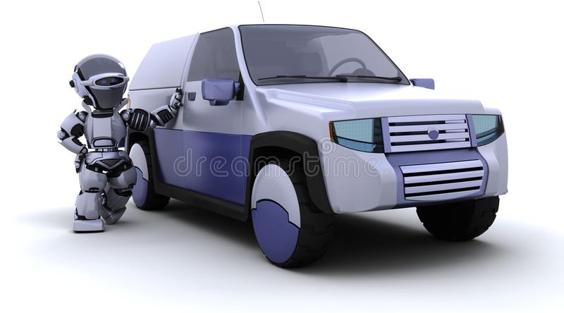 Robot with SUV concept car vector illustration