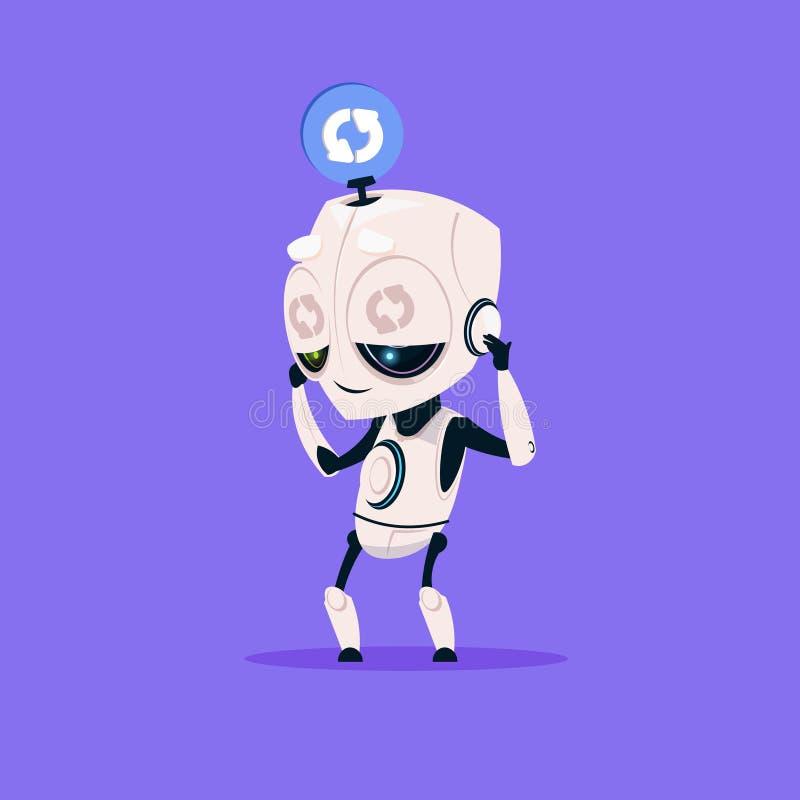 Robot sveglio che aggiorna l'icona del software sul concetto moderno di intelligenza artificiale di tecnologia del fondo blu royalty illustrazione gratis