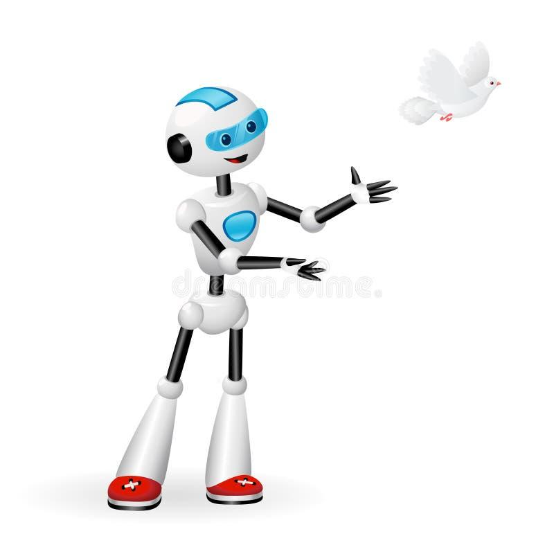 Robot sveglio che libera una colomba per il concetto di libertà isolata su fondo bianco illustrazione vettoriale