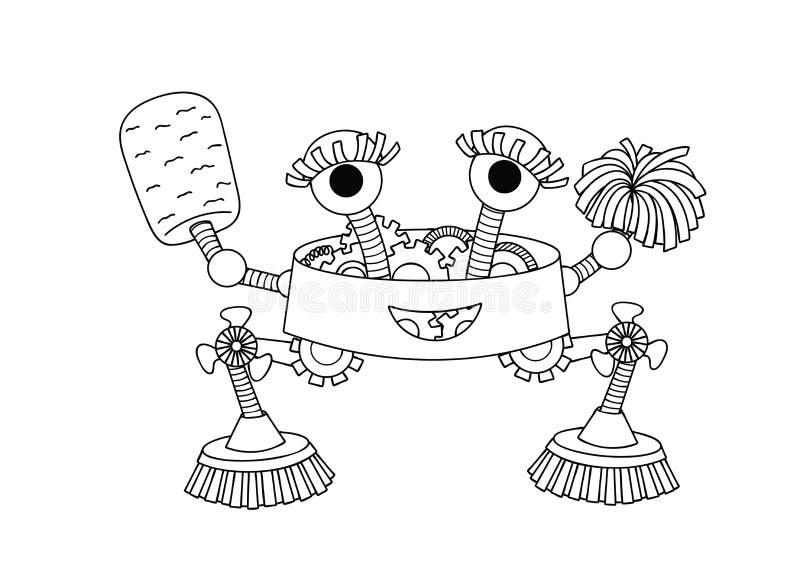 Robot sveglio disegnato a mano della governante per l'elemento di progettazione e la pagina del libro da colorare per sia i bambi illustrazione vettoriale