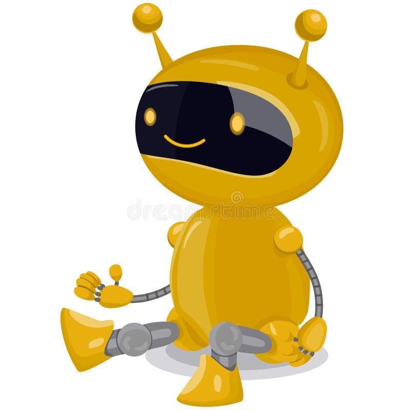 Robot sveglio giallo isolato su fondo bianco Grafici di vettore illustrazione di stock