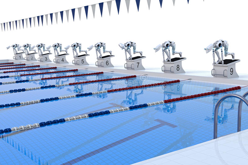 Download Robot Swimming Competition stock illustration. Image of gala - 25875533
