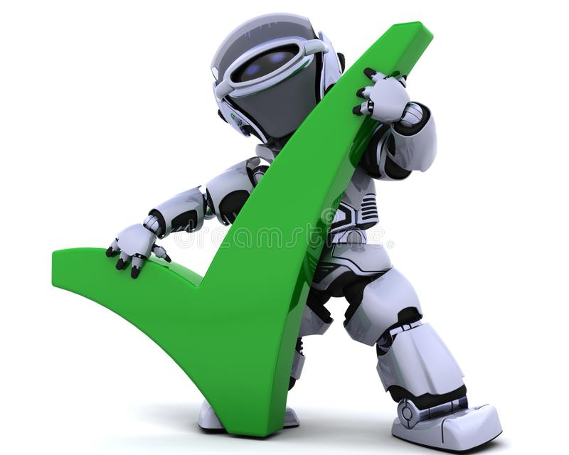 Robot with symbol stock illustration