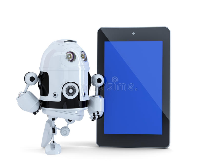 Robot with tablet pc. . Contains clipping path of tablet screen and entire scene. royalty free illustration