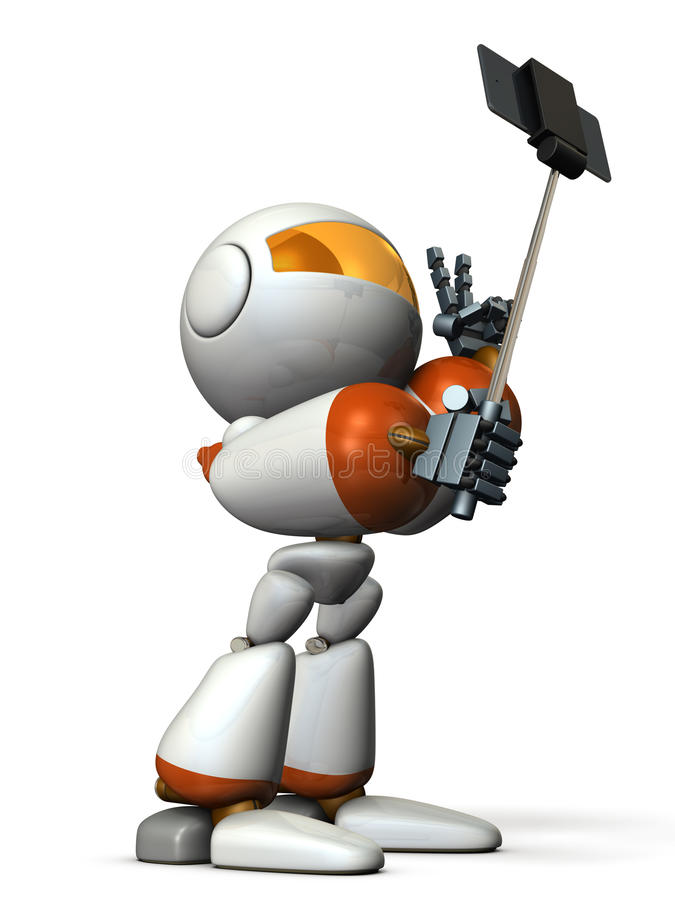 Robot takes himself in self shooting stick. vector illustration
