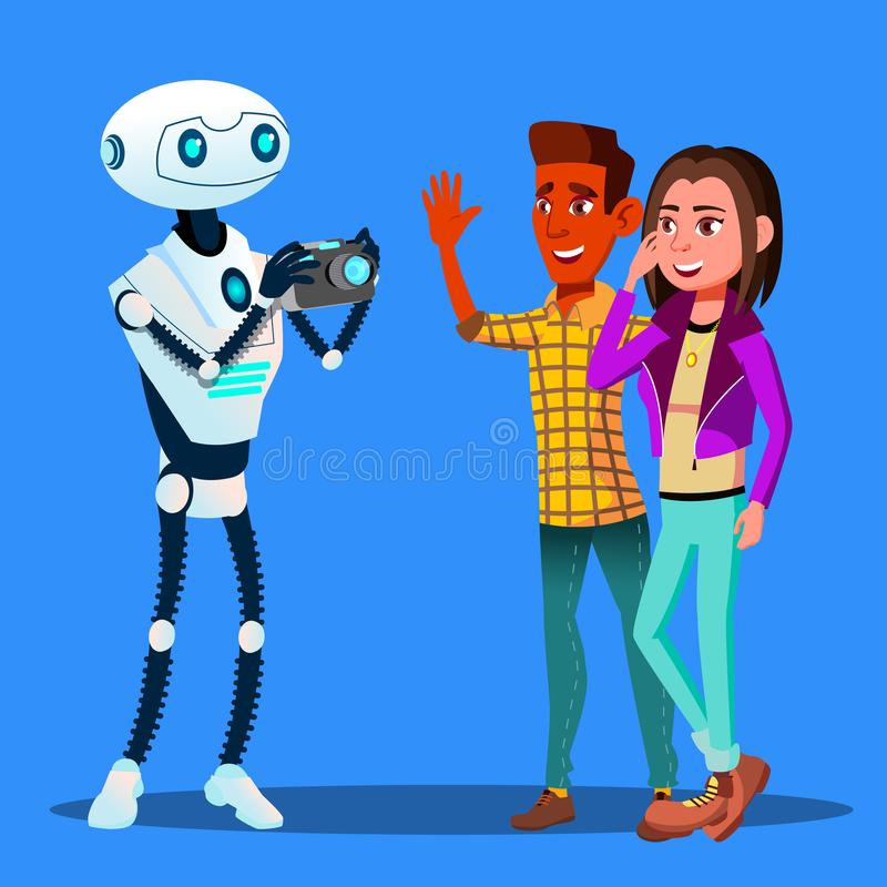 Robot Takes Pictures Of Young Happy Couple Man And Woman Vector. Isolated Illustration. Robot Takes Pictures Of Young Happy Couple Man And Woman Vector vector illustration