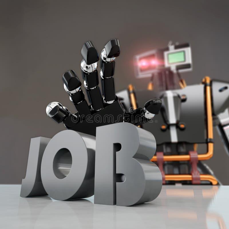 Robot taking `job` word. Black robot taking `job` word, creating unemployment, 3d rendering stock illustration