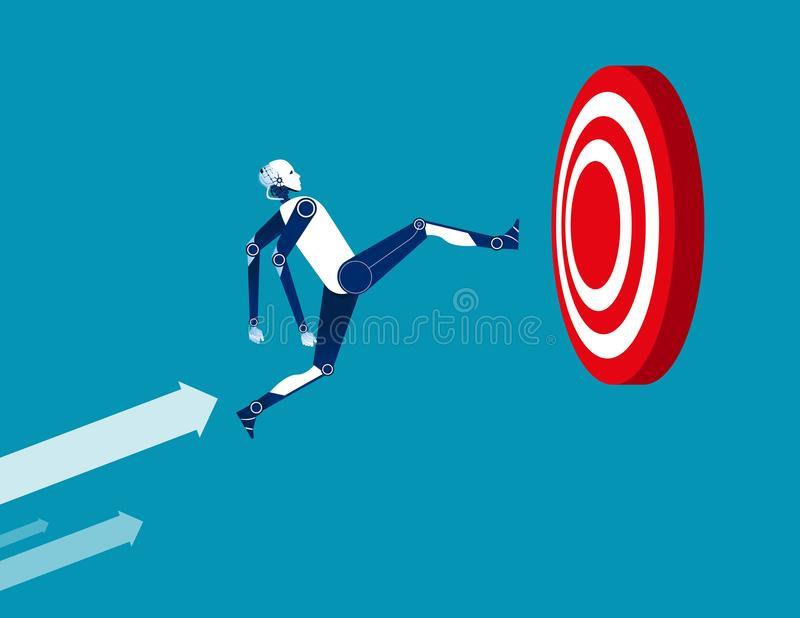 Robot and target. Concept business illustration. Vector flat. Robot successful, Technology stock illustration