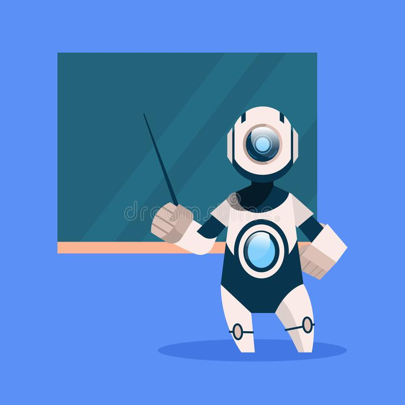 Robot Teacher On Blue Background Concept Modern Artificial Intelligence Technology royalty free illustration