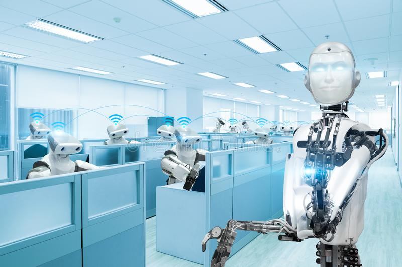Robot team working in the office, Future technology concept stock illustration