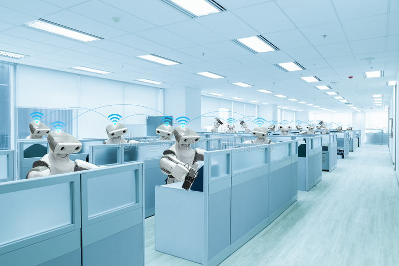 Robot team working in the office instead human, Future technology stock image