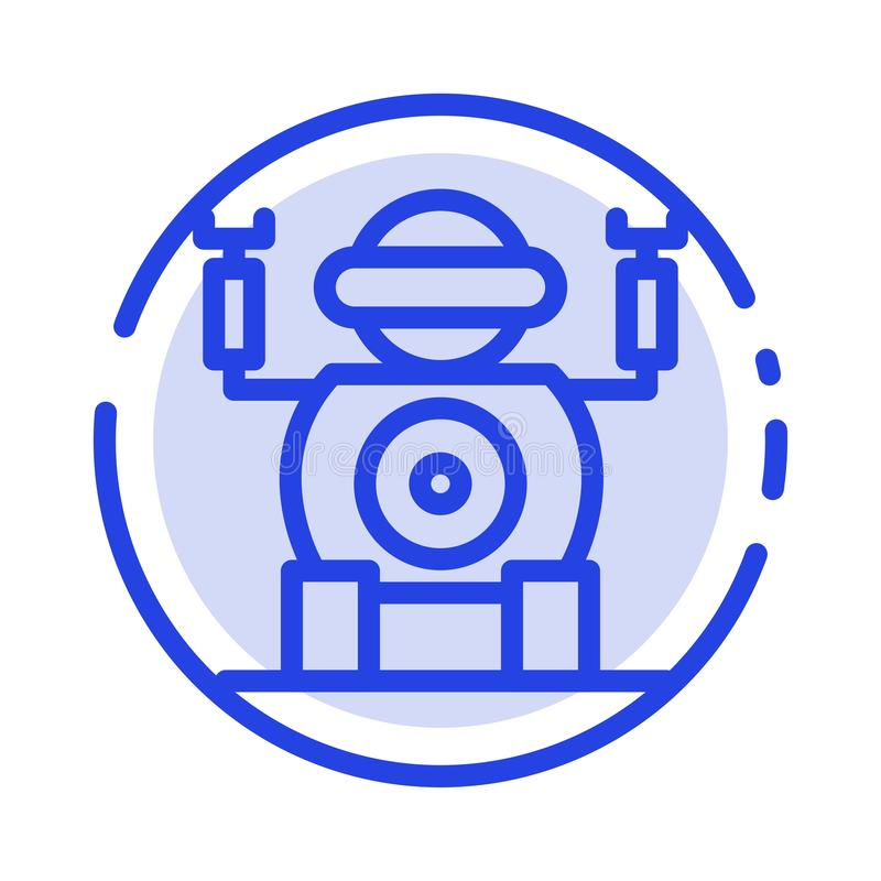 Robot, Technologie, Toy Blue Dotted Line Line-Pictogram vector illustratie
