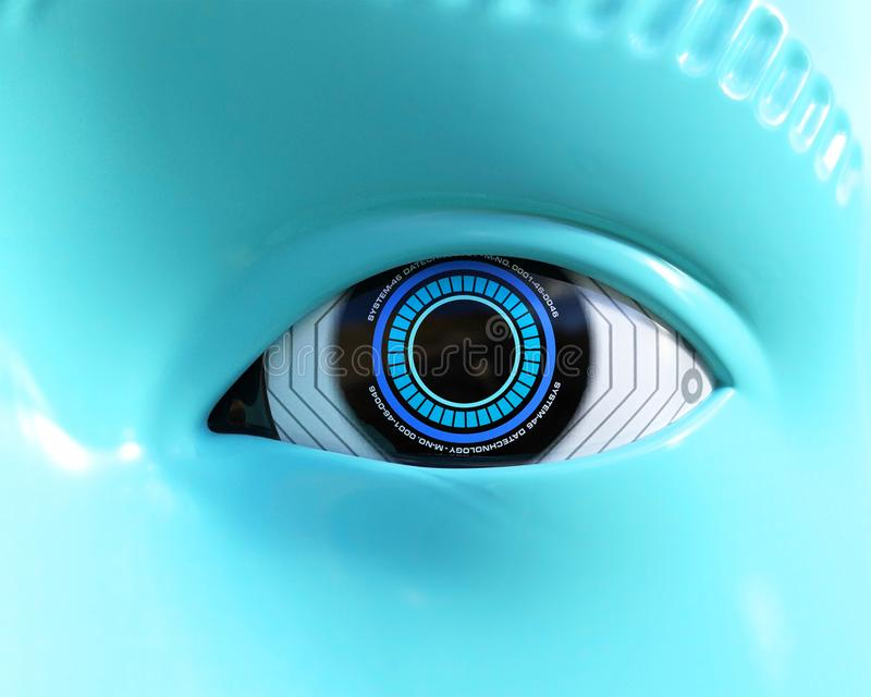 Robot Technology Electronic Eye, Vision. Closeup of a robot technology eye. The vision device sensor is human like. The electronic machine is looking at you royalty free stock photo