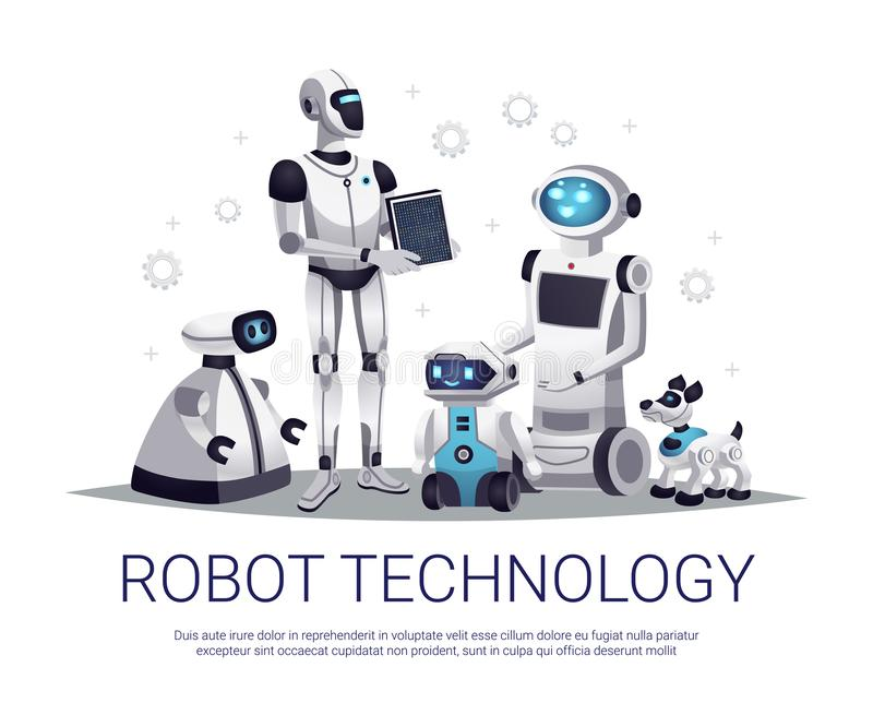 Robot Technology Flat Composition stock illustration