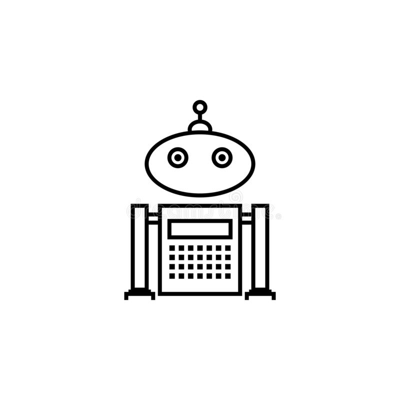 Robot, teenager outline icon. Signs and symbols can be used for web, logo, mobile app, UI, UX stock illustration