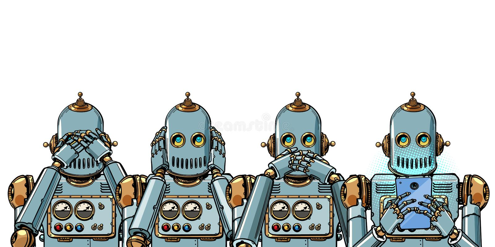 Robot with telephone, Internet addiction concept. Isolate on white background. Robot with telephone, Internet addiction concept. not see hear say. Isolate on vector illustration