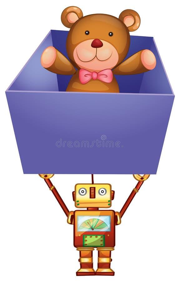 Robot tenant la boîte avec l'ours de nounours à l'intérieur illustration libre de droits