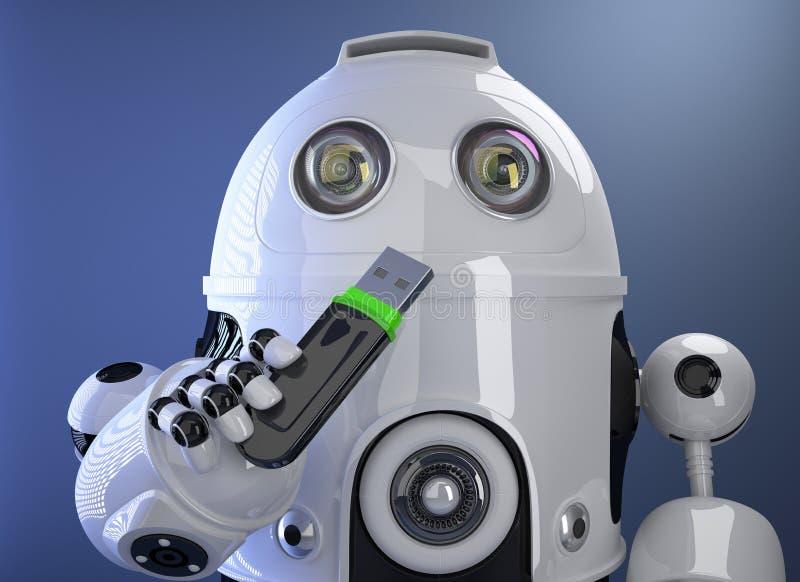 Robot tenant le bâton de mémoire d'USB Contient le chemin de coupure illustration libre de droits