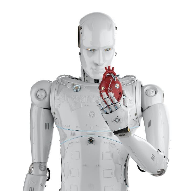 Robot tenant le coeur illustration de vecteur
