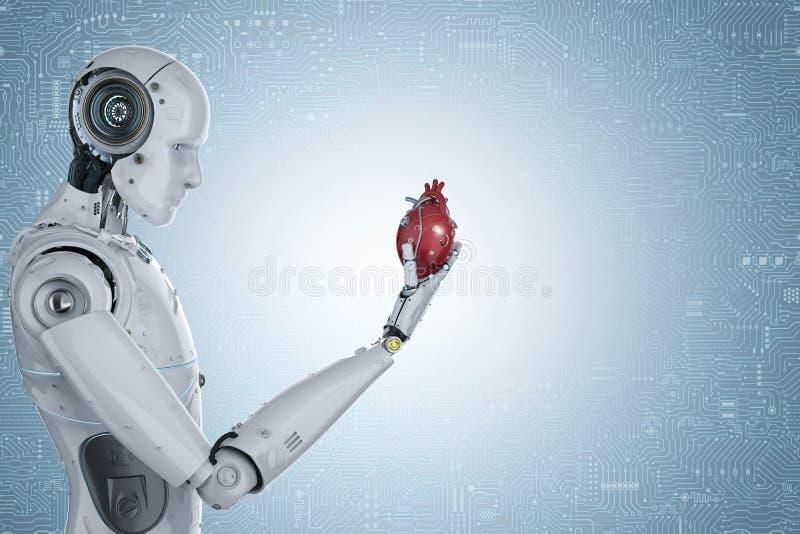 Robot tenant le coeur illustration libre de droits