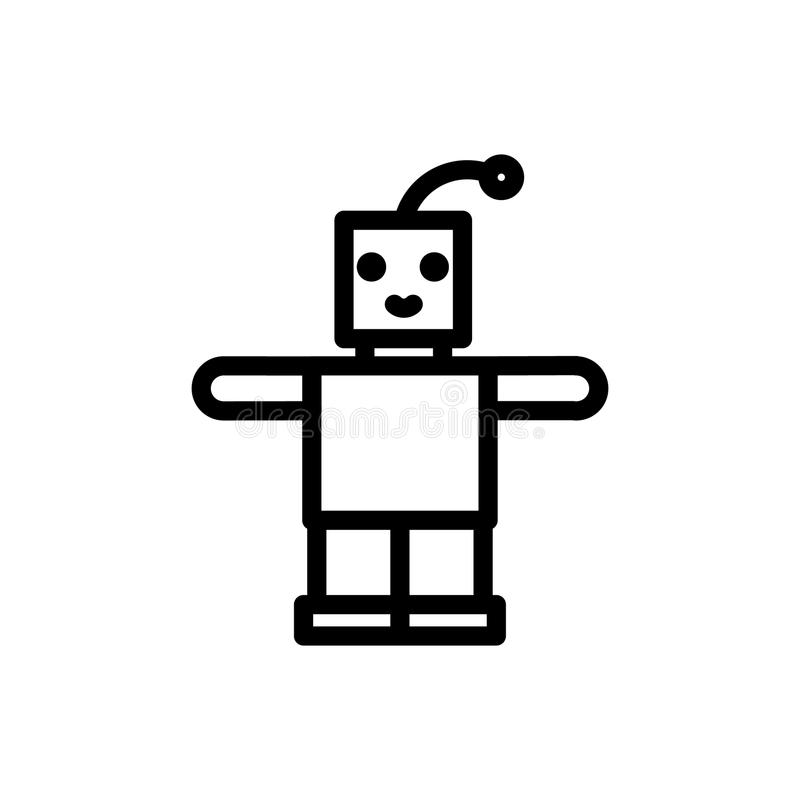 Robot thin line icon. Outline symbol newborn baby toy for the design of children`s webstie and mobile applications stock illustration