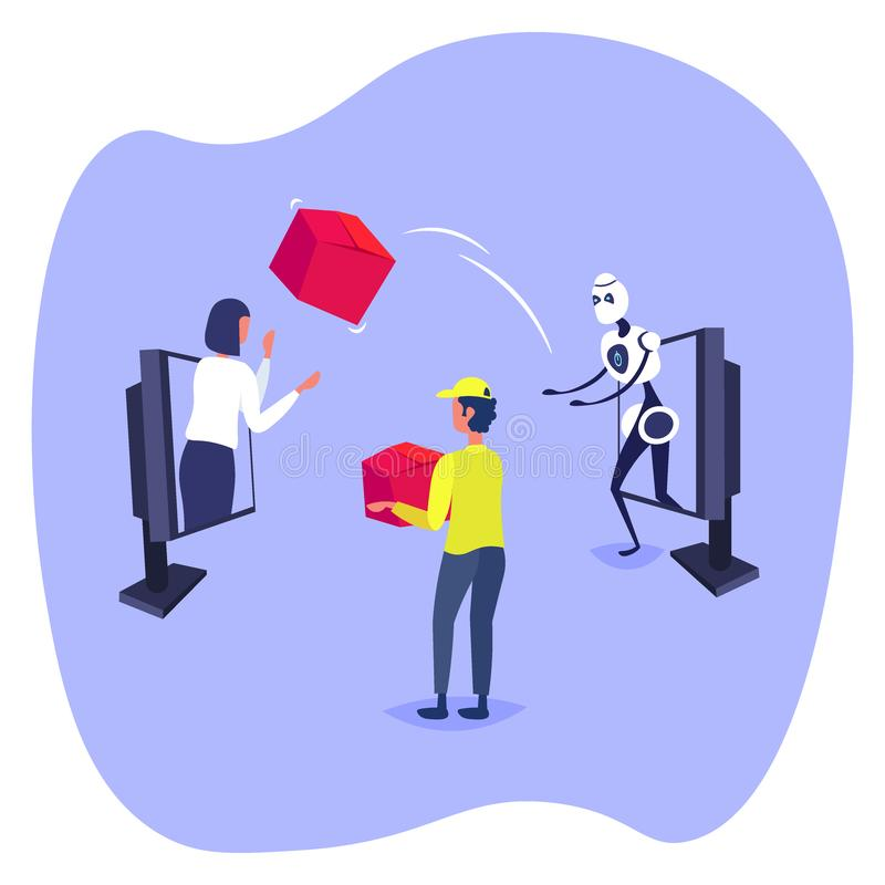 Robot throwing cardboard box to woman customer from laptop screen online shopping artificial intelligence concept e. Commerce flat vector illustration royalty free illustration