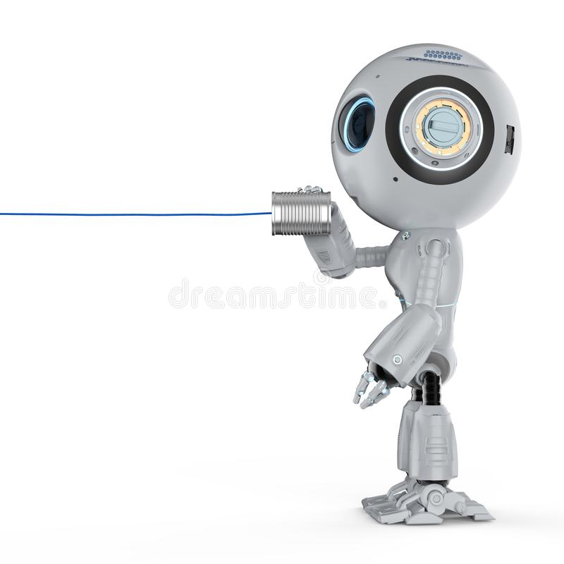 Robot with tin can phone royalty free illustration