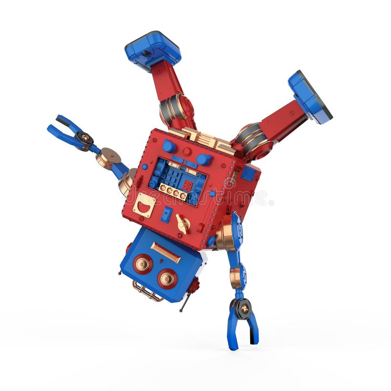 Robot tin toy break dance. 3d rendering robot tin toy break dance on white background vector illustration